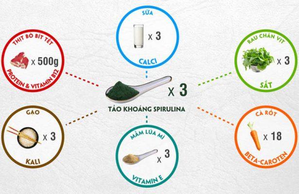Hàm lượng dinh dưỡng Tảo xoắn Spirulina